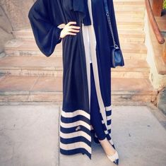 Pinterest: @eighthhorcruxx. Navy and white abaya