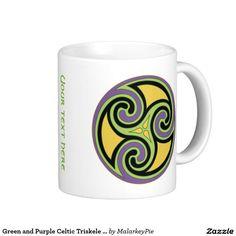 Green and Purple Celtic Triskele Circle Coffee Mug