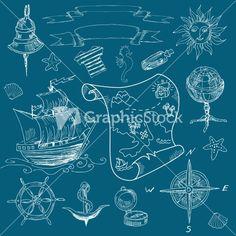 Doodle Sea Vintage Elements Stock Image