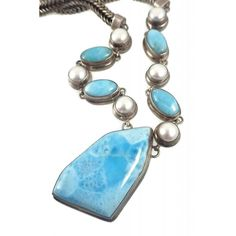 Larimar & Pearl Pre-Owned MarahLago Sterling Silver Necklace