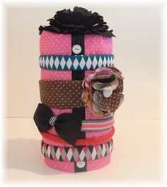 Head band organizer!  SO DID THIS TODAY - used an old baby formula can, wrapped in pink felt and a ribbon - took 15 mins