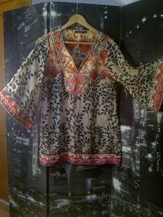 Camisa, Blusa, manga larga, gasa, con pedreria color beige transparente, etnico | eBay