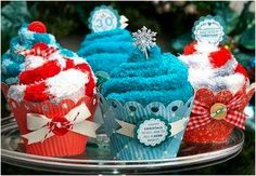 Fuzzy sock cupcakes!! just put your customers favorite mary kay lipgloss in the middle and you have great stocking stuffers