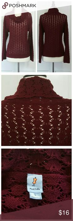 Pink Melo Burgundy Cowl Neck Sweater Burgundy cowl neck sweater, open weave. Pink Melo Sweaters
