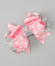 Take a look at this Sweet Treat Bows Pink & Gray Polka Dot Bow Clip by Sweet Treat Bows on #zulily today!