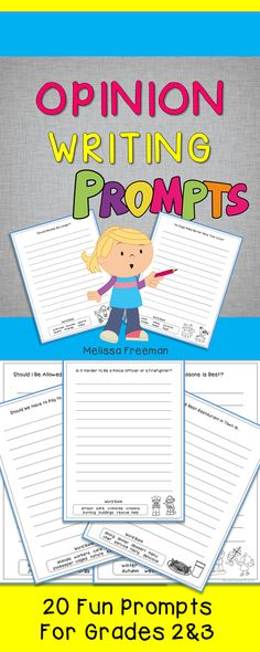 Use these 20 opinion writing prompts, a graphic organizer, a reference sheet and a list of sentence starters to get your students writing about their opinions!