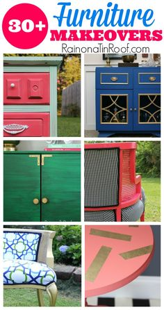 These furniture makeovers are so clever and full of unexpected color combinations! I have to check these out again before I do my next makeover!