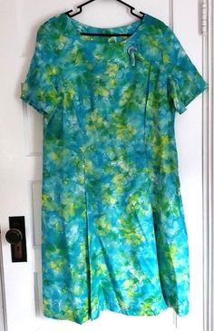 883926a8d7d Vintage 1960 s A-Line Dress Short Sleeve Chiffon Floral Aqua Yellow Size 22  1