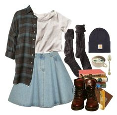 """slow winter"" by paper-freckles ❤ liked on Polyvore featuring Carhartt, Polder, eighteenth, Hermès, H&M, Dr. Martens, women's clothing, women's fashion, women and female"