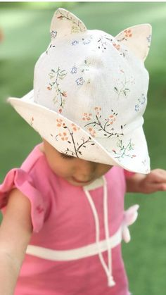 Floral linen summer bonnet hat with kitty ears beach bucket Toddler Sun Hat bba7898e9df0
