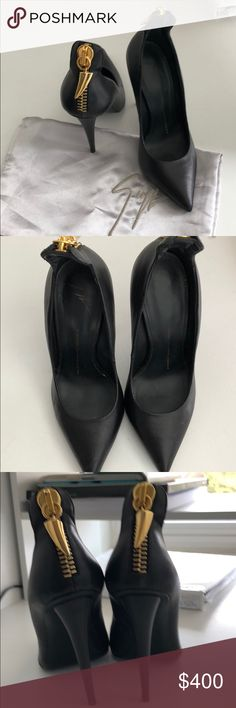 Giuseppe Zanotti heels 👠 🖤 Worn once. The shoes are super hot. Gold zipper up the back of the heel. Giuseppe Zanotti Shoes Heels
