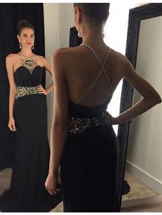 Black Round Neck Criss-Cross Straps Floor Length Prom Dress with Beading