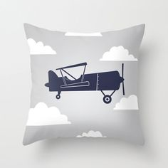 Biplane with Clouds Navy Blue/Gray Throw Pillow by decomodwalls, $25.00
