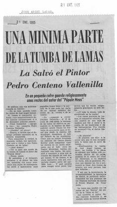 El pintor Pedro Centeno Vallenilla, resguarda restos del compositor venezolanos José Ángel Lamas. Publicado el 21 de enero de 1965