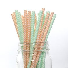 MINT and PEACH Mix Chevron Paper Straws | Wedding, Bridal Shower, Baby Shower, Birthday | The Pretty Party Shoppe