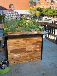 Reclaimed Wood Small Outdoor Bar + Planter | Patio Plant-a-Bar 2'x4'
