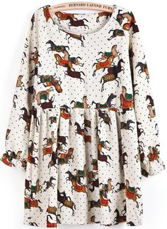 Apricot Long Sleeve Polka Dot Horses Print Dress - Sheinside.com