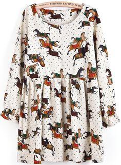 Apricot Long Sleeve Polka Dot Horses Print Dress - Sheinside.com