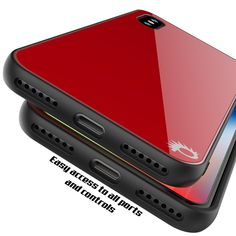 iPhone X Case, Punkcase GlassShield Ultra Thin Protective 9H Full Body Tempered Glass Cover W/ Drop Protection & Non Slip Grip for Apple iPhone 10 [Red]      ★ PUNKCASE iPHONE X GlassShield: Minimalist & Stylish Dual Layer 9H Tempered Glass Case with additional TPU and PC layer.