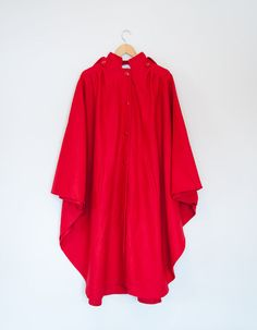 Vintage 1980s Red Wool Hooded Cape Coat by OrthopteraVintage