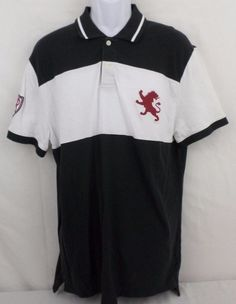 Express Fitted Polo Black With White Stripe Red Large Logo Size XL 100% Cotton #Express #PoloRugby
