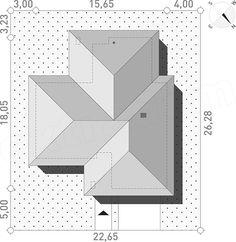 Single Floor House Design, Modern House Floor Plans, Dream House Plans, Hip Roof Design, Four Bedroom House Plans, Stair Plan, Model House Plan, Roofing Felt, Roof Styles