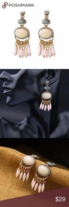 Blush Pink Stone Statement Earrings High Quality Vintage look Blush Pink Stone Statement Earrings Jewelry Earrings