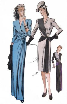 Rare 1940s VOGUE COUTURIER DESIGN Evening Gown Dress Sewing Pattern 333 Slim w Surplice Bodice, Glamorous - Sexy - Timeless! Bust 32