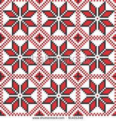 seamless embroidered good like handmade cross-stitch ethnic Ukraine pattern by mycola, via Shutterstock Ethnic Patterns, Embroidery Patterns, Cross Stitch Patterns, Crochet Patterns, Tapestry Crochet, Tapestry Weaving, Ornament Pattern, Red Pattern, Bargello