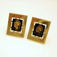 Unique #MidCentury Anson Gold Plated Mercury #Cameo #Cufflinks from #MyClassicJewelry