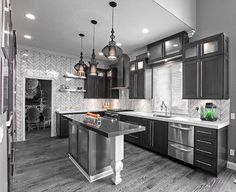 Grey Hardwood Floors Ideas Modern Kitchen Interior Design Dark Grey - Grey kitchen cabinets with wood floors