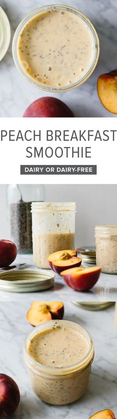 A delicious peach smoothie that makes for a healthy, breakfast smoothie when blended with yogurt and chia seeds. Make this with dairy or dairy-free for a vegan option.