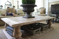 Restoration Hardware BALUSTRADE SALVAGED WOOD SQUARE COFFEE TABLE $1495 - $2395.. Love love this look!
