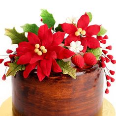 Poinsettia Sprays Sugarflower cake toppers.  Perfect for Christmas Cakes for the holidays.  | CaljavaOnline.com