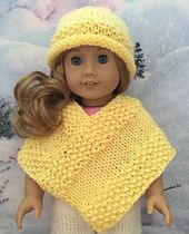 """Ravelry: Cute Poncho for the 18"""" Doll pattern by Janice Helge"""
