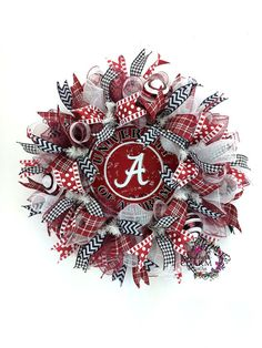 Deco Mesh University of Alabama Wreath by SouthernCharmWreaths Roll Tide Wreath, Bama Decor