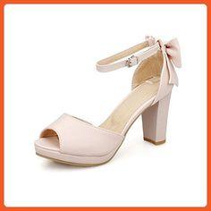 AllhqFashion Women s Peep Toe High-Heels Soft Material Solid Buckle  Heeled-Sandals, Pink 124cbfedef