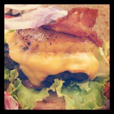 Larry Lanai Burger! 1/3 beef all beef patty, cheese, pineapple, onions & bacon#boulevarddiner #nomnomnom