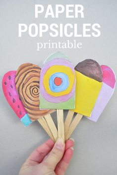 Paper Popsicles for Imaginative Play Crafts, 16 Fun and Colorful Ice Cream Crafts for Summer Time - look almost good enough to eat! Easy for preschoolers, kindergartners and older kids. Ice Cream Crafts, Ice Cream Art, Ice Cream Theme, Diy Ice Cream, Summer Crafts, Fun Crafts, Crafts For Kids, Arts And Crafts, Simple Crafts