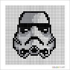 Stormtrooper - Star Wars pixel art by kuromigrl Beaded Cross Stitch, Cross Stitch Embroidery, Cross Stitch Patterns, Star Wars Crochet, Crochet Stars, Pixel Art Star Wars, Image Pixel Art, Star Wars Quilt, Disney Quilt