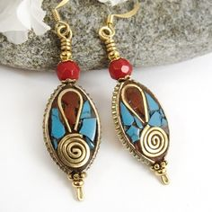 Tibetan Bead Earrings, Turquoise and Red Coral, Brass Inlay, Spirals by #PrettyGonzo  http://www.artfire.com/ext/shop/product_view/PrettyGonzo/4973805