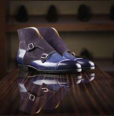 Handmade Men Navy Blue Double Monk Chukka Boots, Mens Chukka Boots - Boots