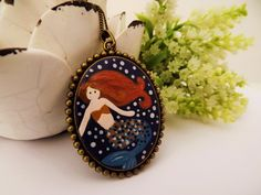 Mermaid Magic Necklace.  Lovely Vintage Handmade Hand Painted Cameo Necklace Polymer Clay Pendant Jewelry Nickel Free Metal by RaindropsintheSky on Etsy