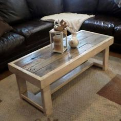 We just finished this gorgeous Vintage Farmhouse coffee table for one of our customer! He recently purchased one of our Vintage Farmhouse table and bench sets, and wanted us to make him a coffee table to match for his living room. Woodworking Outdoor Furniture, Wood Pallet Furniture, Rustic Furniture, Diy Furniture, Woodworking Projects, Business Furniture, Woodworking Techniques, Pallet Projects, Coffee And End Tables