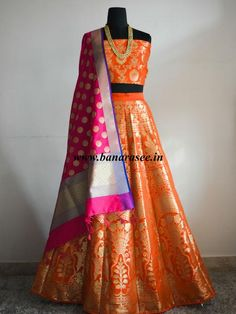 Banarasee/Banarasi Handwoven Art Silk Unstitched Lehenga & Blouse Fabric-Orange