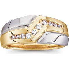 IceCarats 14K Yellow/White Gold Two Tone Gents Diamond Ring | #IceCarats | Design | Love | Marriage | Jewelry | Fashion | See More - www.IceCarats.com