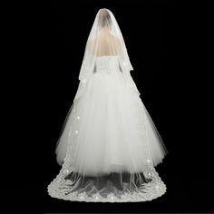 2015 Top Quality White Wedding Veil veu de noiva Beads Applique Lace 1.5M Length Bridal Accessories One Layer 7900