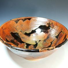 Large Serving Bowl in Copper Lava Glaze / Wheel Thrown Pottery in Stoneware Clay / Serving Bowl / Salad Bowl / Display Bowl by CarolBroadleyPottery on Etsy https://www.etsy.com/listing/207325634/large-serving-bowl-in-copper-lava-glaze