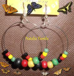 Handmade earrings. Aros. Aretes. Caravanas. Orecchini. Pendientes. Artesanal. Beads. Beaded. Rasta. Rastafari.