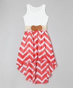 Love this Coral Zigzag Belted Hi-Low Dress - Girls by Maya Fashion on #zulily! #zulilyfinds